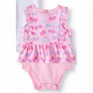 Garanimals Baby Girl Peplum Flutter Bodysuit – Pink