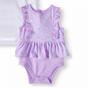 Garanimals Baby Girl Peplum Flutter Bodysuit – Purple